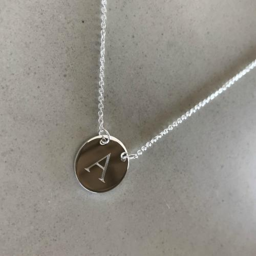 initial necklace with letter A engraved
