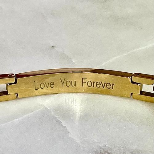 love you forever engraved on mens bracelet