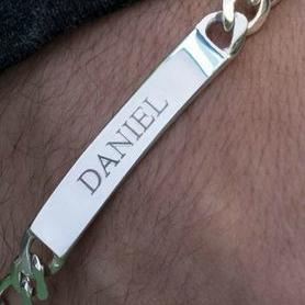 name engraved on mens sterling silver id bracelet