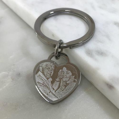 photo of couple engraved on heart keyring