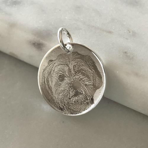photo of dog engraved on silver disc pendant
