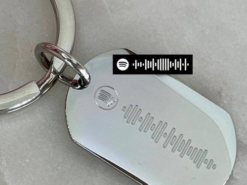 spotify code engraved onto keyring