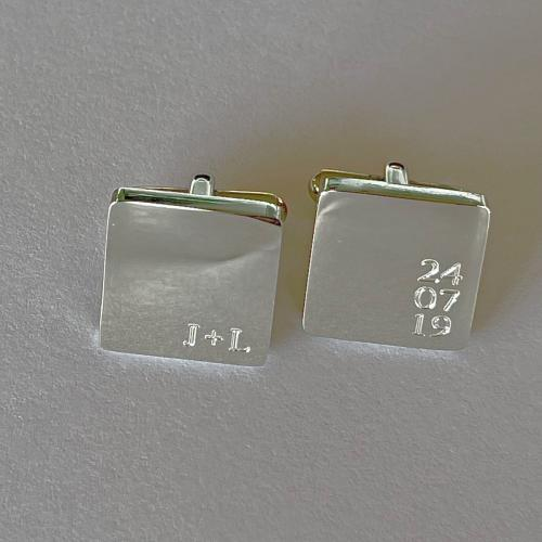 square cufflinks engraved with date and initials