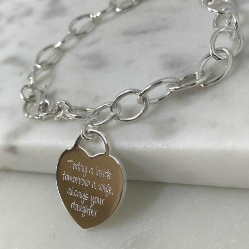 sterling silver cable bracelet and large heart tag