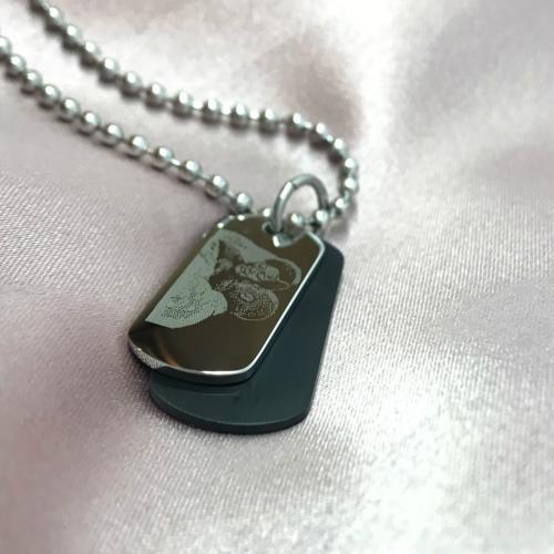wedding photo engraved on dog tag necklace